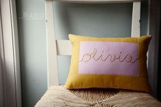 Custom Personalized Hand Embroidered Quilted Pillow Cover by Lilybird Stitches | Hatch.co
