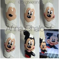 Untitled dibujos paso a paso Ongles Mickey Mouse, Mickey Mouse Nails, Diy Nails, Cute Nails, Animal Nail Art, Nail Art Techniques, Painted Nail Art, Latest Nail Art, Manicure Y Pedicure