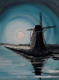 'Mühle bei Mondschein' von Barbara Kaiser bei artflakes.com als Poster oder Kunstdruck $15.24