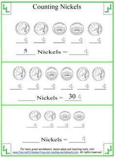 Counting Nickels & Pennies Worksheets (free; from Free Math, Handwriting and Reading Worksheets.com)