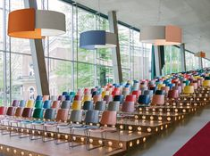 Modo Luce sound-absorbing pendant lamp Alco in Kvadrat version. Interior Architecture, Interior Design, Space Projects, Gym Room, Workplace Design, Led Licht, Office Walls, Led Lampe, Auditorium