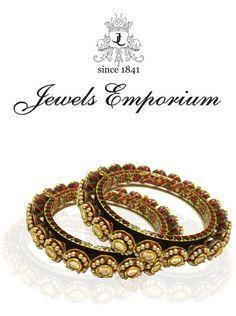 Rajasthani Style Bangles or Bangri in Polki and Meenakari with Pearl Embellishment by Jewels Emporium
