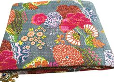 $39 AmazonSmile - Anora Cotton's Cotton Kantha Reversible Quilt★Queen/king Size★made with Organic Cotton, Soft and Lightweight; Breathable and Absorbent; Durable and Eco Friendly★Bedspread or Throw Blanket-Grey -