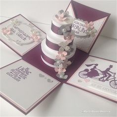 Wedding in pink and purple – Gift Ideas Wedding Boxes, Wedding Cards, Wedding Invitations, Ideas Scrapbook, Card In A Box, Exploding Gift Box, Birthday Gift For Wife, Wedding Anniversary Cards, Anniversary Dinner