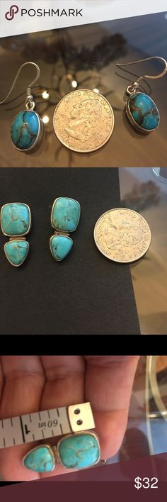 SS Turquoise post earrings Purchased at Coldwater Creek several years ago. Worn and loved but today I prefer French wire earrings. Beautiful and CC quality silver and turquoise. From my own personal collection. Stamped on back. **FIRM ** Jewelry Earrings