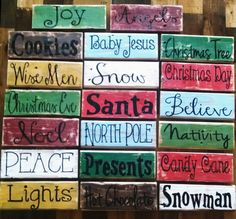 ADORABLE handmade Christmas pallet board signs - Available from EdisonAvenue on Etsy Scrap Wood Crafts, Wood Block Crafts, Handmade Christmas, Christmas Crafts, Christmas Decorations, Christmas Ideas, Merry Christmas, Christmas Ornaments, Pallet Art