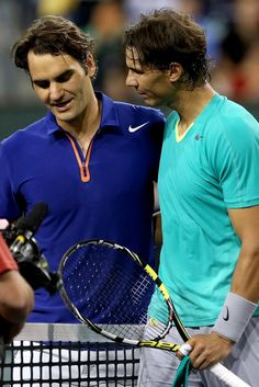 INDIAN WELLS, CA - MARCH 14: Roger Federer of Switzerland congratulates Rafael Nadal of Spain after their match during the BNP Paribas Open at the Indian Wells Tennis Garden