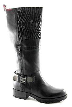 CAF NOIR GH131 botte noire 3/4 femme cuir biker 2 zip boucle 38 - Chaussures cafe noir (*Partner-Link)