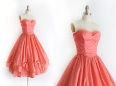 vintage 1950s dress // 50s coral pink strapless prom dress by TrunkofDresses on Etsy https://www.etsy.com/listing/218076002/vintage-1950s-dress-50s-coral-pink