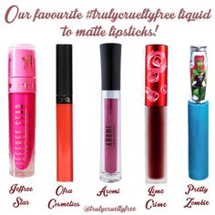 A favourite topic here is liquid lipstick! All of these brands are 100% vegan and cruelty free = Truly Cruelty Free! Jeffree Star Cosmetics, OFRA Cosmetics Laboratories, Aromi, Lime Crime Pretty Zombie Cosmetics - we love your liquid lippes! <3