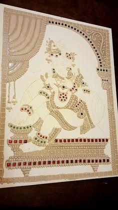 Visual taste: Muck Board Tanjore painting Lord Krishna