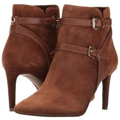 MICHAEL Michael Kors Fawn Ankle Boot (Dark Caramel Kid Suede/Vachetta)... ($199) ❤ liked on Polyvore featuring shoes, boots, ankle booties, ankle boots, suede bootie, pointed-toe ankle boots, pointed toe booties and suede booties