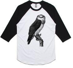 theIndie Common Harrier Eagle (Black) 3/4-Sleeve Raglan Baseball T-Shirt