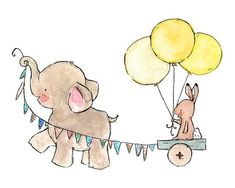 baby elephant and bunny decor--- JOYRIDE -- 8x10 Archival Art Print via Etsy, art for baby girl nursery
