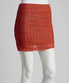 Red Crocheted Skirt