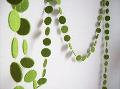green felt garland-- stitch circles together