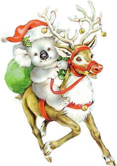 tubes noel / rennes, traineaux Vintage Christmas Cards, Diy Christmas Ornaments, Christmas Tag, Christmas Pictures, Xmas Cards, Christmas Greetings, Christmas Pyjamas, Aussie Christmas, Australian Christmas