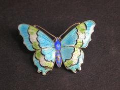 Art Deco Silver Enamel Butterfly Brooch Four Colour Enamel by JA & S