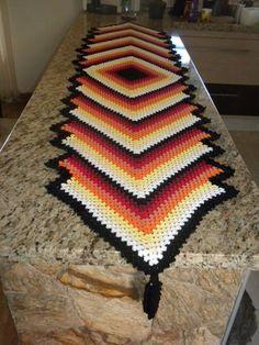 22 Ideas Crochet Granny Square Scarf Table Runners For 2019 Crochet Scarf Diagram, Granny Square Crochet Pattern, Crochet Granny, Crochet Blanket Patterns, Crochet Doilies, Crochet Table Runner Pattern, Crochet Cushion Cover, Crochet Carpet, Crochet Fall