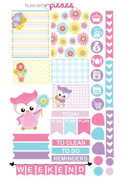 SPRING OWLS Weekly Theme sticker set Perfect for Erin Condren Life Planner