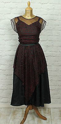 #Vintage dress 80s #evening #party cocktail prom gown dance swing polka dot uk 8/, View more on the LINK: http://www.zeppy.io/product/gb/2/322005712565/