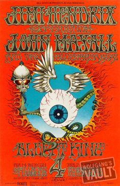 """psychedelic-sixties: """" """"Flying Eyeball""""Jimi Hendrix Experience/John Mayall & the Bluesbreakers/Albert King/Holy See & McKay's Headlights, February 1968 - Fillmore Auditorium (San Francisco, CA). Art By Rick Griffin. Rock Posters, Band Posters, Movie Posters, Jimi Hendrix Experience, Psychedelic Rock, Psychedelic Posters, Hippie Posters, Psychedelic Experience, Vintage Concert Posters"""