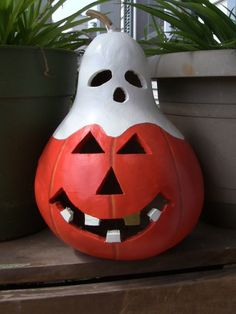 Adorable Gold Tooth Lighted Pumpkin A by inmypaintedgarden on Etsy, $24.95