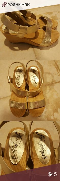 9c6355baa41660 Free People Gold Leather Shoes Sandals 37 Free People Gold Leather Shoes.  Wooden 3 inch back sole and 1 inch front. Very eye catching.