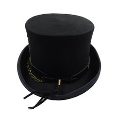 e3ca3ac831f Black wool felt top hat. Leather band with brass color rivets and chain.  Watch