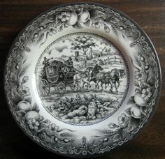 Decorative Dishes - Black Toile Transferware Horses Carriage Fruit Plate M, $29.99 (http://www.decorativedishes.net/black-toile-transferware-horses-carriage-fruit-plate-m/)