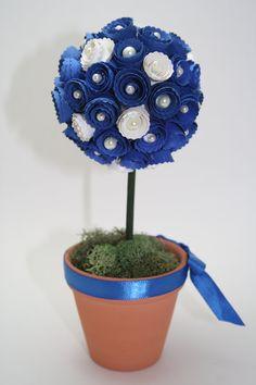 Mini Topiary flower centerpiece  decoration  by CattsCraftCloset, $15.00