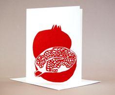 Garnet Colored Pomegranate Cards