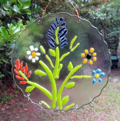 Wildflower fused glass wind chimes by ColleenGail on Etsy, $65.00