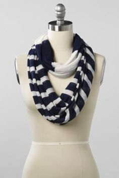 Women's Linen Stripe Infinity Scarf from Lands' End