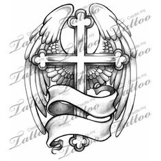 Market Tattoo winged cross #1589 | CreateMyTattoo.com. >> Take a look at more by clicking the photo