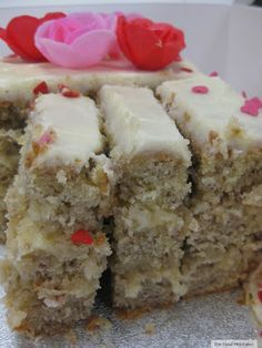"""The Food Mentalist: The Best Banana Cake - """"In the WORLD"""" This is a great cake. It is not dense like some other """"banana cake"""" recipes. My family enjoyed this. I didn't layer it as it is in the photo. Baked in a 9x13 pan and put walnuts on the top. Yum!"""