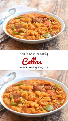 Callos is a hearty stew made of beef tripe, ox feet, Chorizo de bilbao, garbanzo beans, green peas and bell peppers slow-cooked in a paprika-infused tomato sauce.