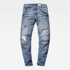 This signature G-Star RAW style features a biker-inspired silhouette, with shaped legs and articulated knees for maximum comfort and flatter.