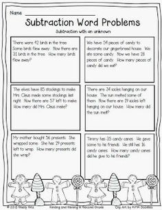 Christmas Subtraction Word Problems with Unknown for second grade---Free math printable for second grade *saved/printed Second Grade Math, Grade 2, Fourth Grade, Third Grade, Math Subtraction, Subtraction Strategies, Math Problem Solving, Solving Equations, Free Math Worksheets