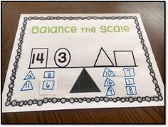 Number Talk Idea - Balance The Scale
