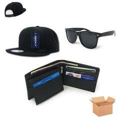 eb747cc17c898 Casaba Men s Birthday Gift Set Box Baseball Hat Leather Wallet Way  Sunglasses