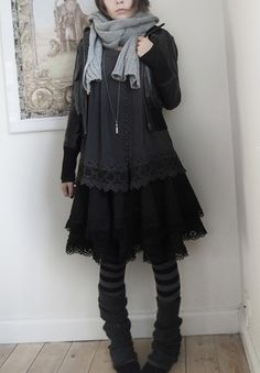 Dark Mori | all black knee length layered dress + grey scarf + jacket + stripes tights + leg warmers + necklace | fall winter style
