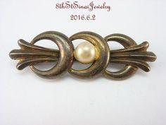 Estate wRe Symmetalic Sterling Silver 925 14K Gold Pearl Bar Pin Brooch #WERichardsSymmetalic