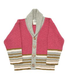 Take a look at this Pink & Gray Stripe Librarian Cardigan - Infant & Toddler by Loop Collection on #zulily today!