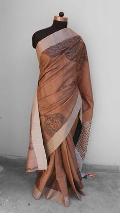 Madhubani painted silk saree with intersting woven palla