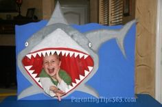 Tons of neat shark birthday party ideas: unique invitations, decorations, themed food, games, party favors, and thank you cards. (Parentingtips365.com)