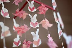 Bunnies in pink & peach - for girls (available in any colour combination you choose) Handmade Baby, Color Combinations, Bunny, Peach, Mobiles, Paper, Pink, Colour, Studio