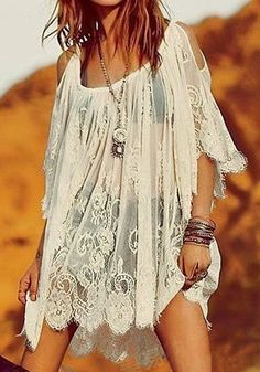 Gypsy Boho Lace Dress - Features Full Lace Detailing