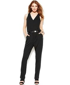 DKNYC Straight-Leg Belted Jumpsuit