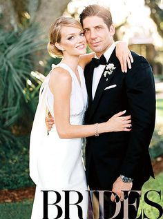 Lindsay Ellingson and Sean Clayton share the look of love on their wedding day in this photo, shared with Brides magazine.
